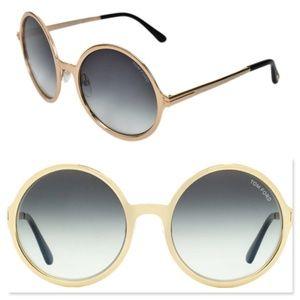 New TOM FORD Ava Round Gold Sunglasses